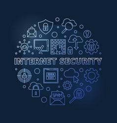 Internet security round concept blue vector