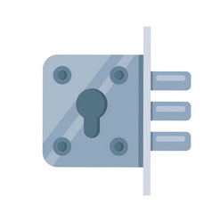 Iron mortise lock icon flat vector
