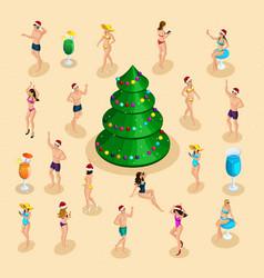 isometric celebration men and women in bathing vector image