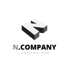 isometric monochrome N letter logo Company vector image