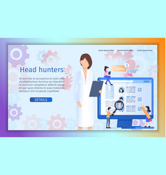 job vacancy candidate search flat website vector image