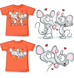 Kid shirt with cute mouses in love printed vector