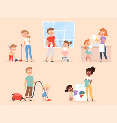 Kids housework children helping parents cleaning vector