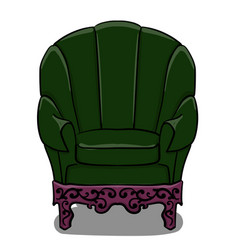 large armchair with dark green upholstery and vector image