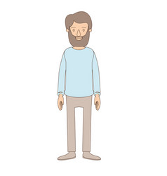 Light color caricature full body man with beard vector