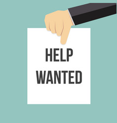 Man showing paper help wanted text vector