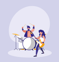 men playing drums avatar character vector image