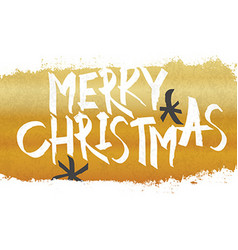 Merry Christmas Lettering with gold texture and vector