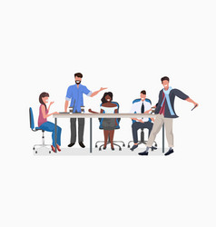 Mix race businesspeople team round table vector