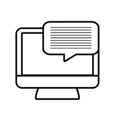 monitor message technology electronic line vector image