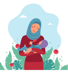 Muslim mom holding a small child in her arms vector