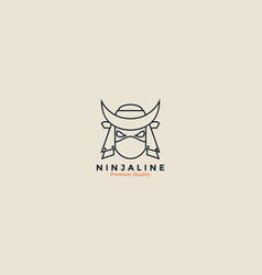 Ninja head line strong logo icon design vector