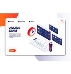 online exam isometric concept internet vector image