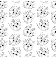 Pattern with head of dog vector