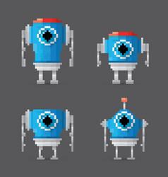 pixel style robot set vector image vector image