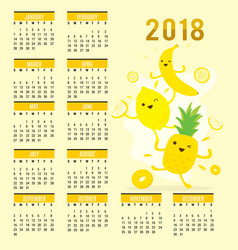 planner calendar 2018 fruit cute cartoon vector image