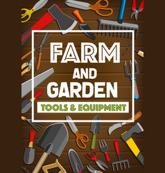 Poster of farm and garden tools vector