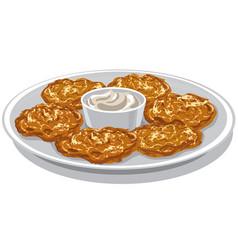 Potato pancakes on plate vector