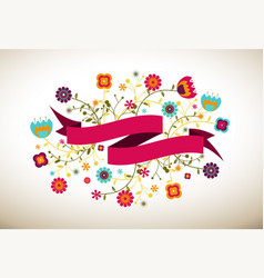 Ribbon banner with flowers art downl vector