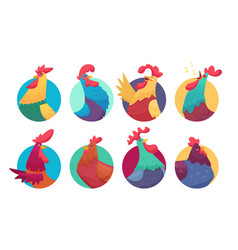 rooster avatars cartoon chicken and roosters vector image
