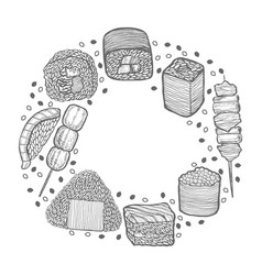 Round composition with japanese food in hand-drawn vector