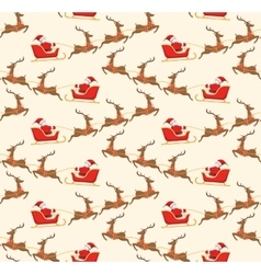 Seamless Christmas Pattern with Santa on Sleigh vector image