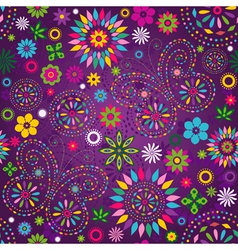 Seamless motley floral pattern vector image