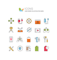 Set flat line icons action camera vector