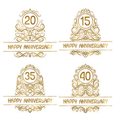 set golden anniversary vintage emblems for vector image