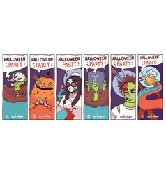 set halloween party invitation cards or flyers vector image