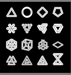 set impossible shapes optical vector image