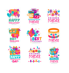 Set of abstract friends logo templates happy vector