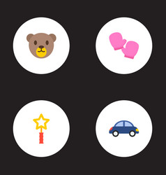 set of child icons flat style symbols with teddy vector image