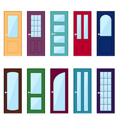 Set of color door icons vector