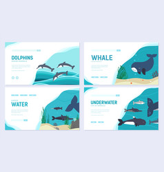 set of sea mammals art animal brochure card set vector image