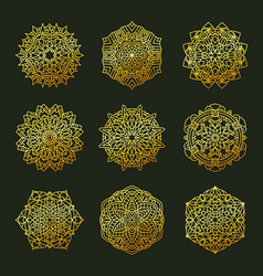 set pattern geometric gold logo decorative arabic vector image