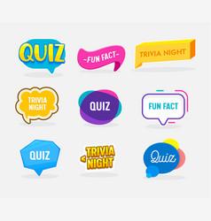Set quiz fun fact and trivia night badges vector