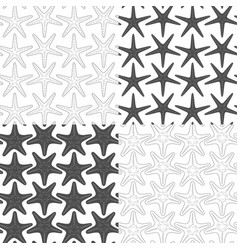 set seamless patterns with starfish vector image