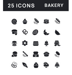 Set simple icons bakery vector