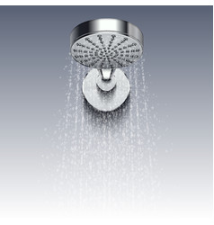 Shower metal head with trickles of water vector