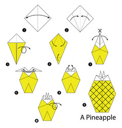 Step instructions how to make origami a pineapple vector