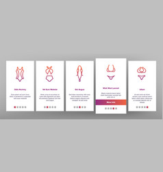 Swimsuit woman clothes onboarding icons set vector
