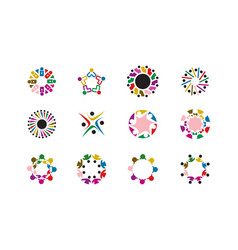 team work logo collection vector image