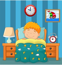 The boy sleeping in the bed vector image