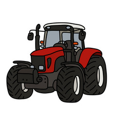 The red heavy tractor vector