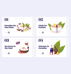 Traditional thailand dishes website landing page vector