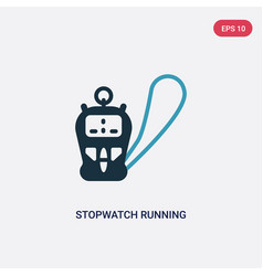 Two color stopwatch running icon from technology vector