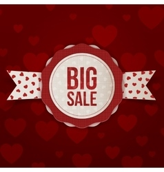 Valentines Day Big Sale Label with Text and Ribbon vector