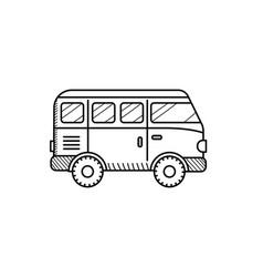 Van car coloring book for kids retro travel vector