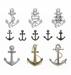 variety nautic anchor set vector image